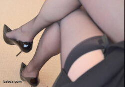 brown thigh highs and satin lingerie cum