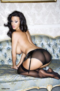 milf in satin lingerie and hanes silk reflections stockings