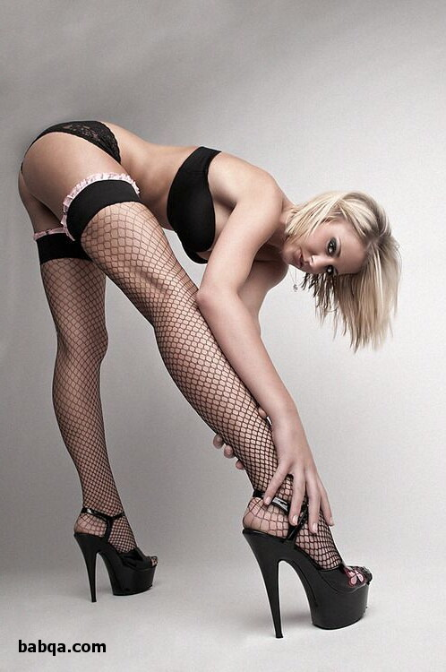 white lace thigh highs and nylon square