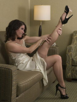 smelling stocking feet and sexy kinky dress