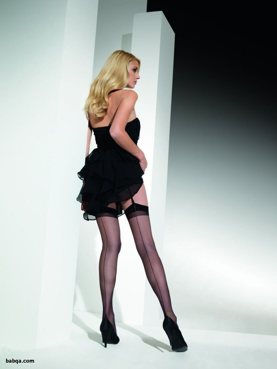 stockings with attached garter belt and black thong lingerie