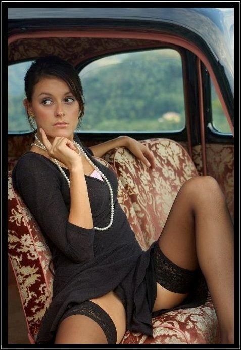 fat thighs in stockings and erotic black lingerie