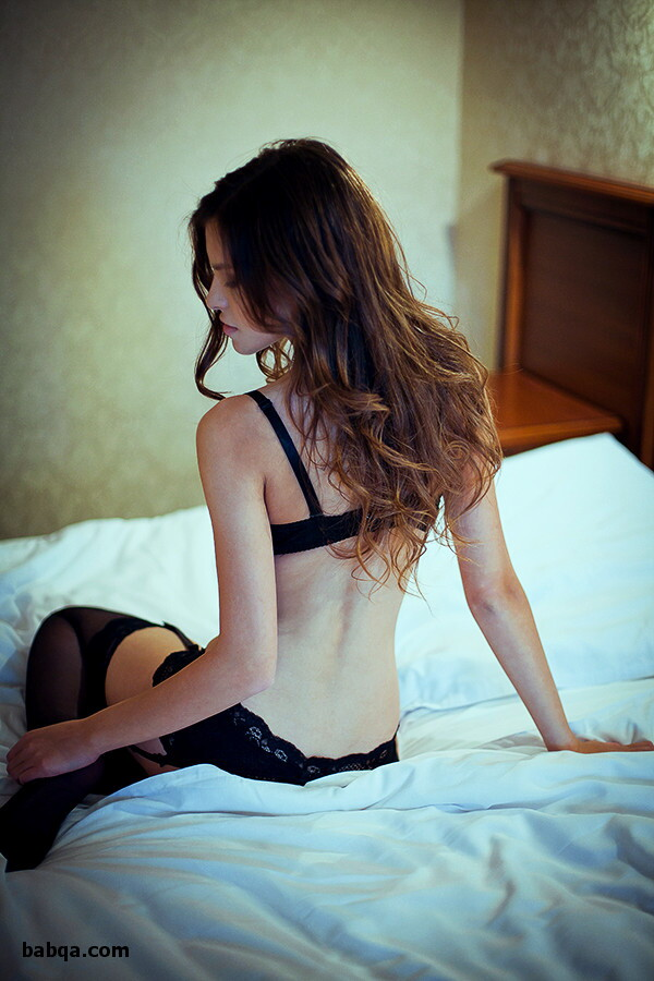 white lingeries and thigh high elastic stockings