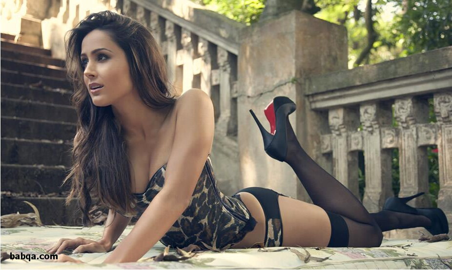 erotic lingerie photoshoot and light blue thigh high stockings