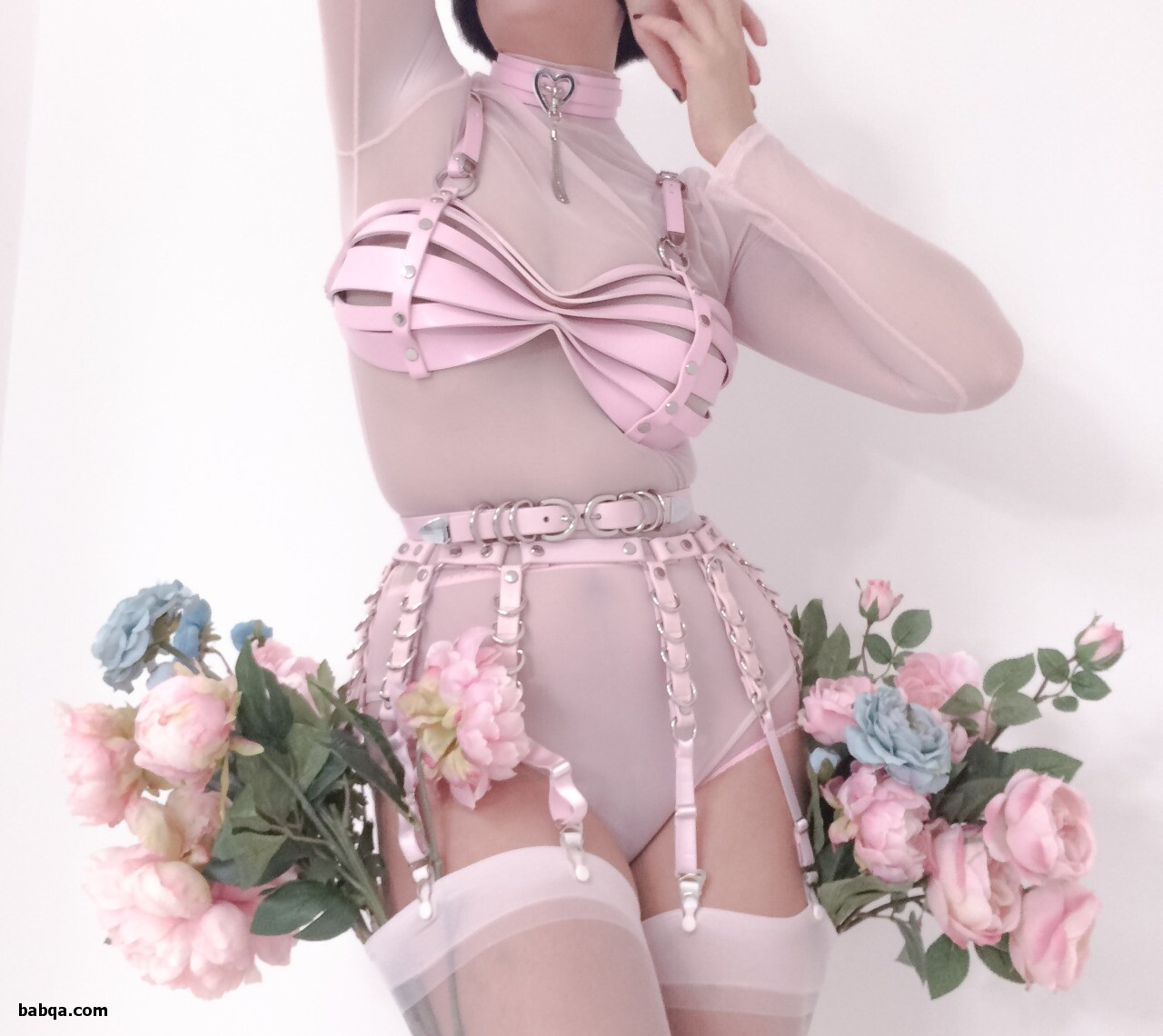 white stockings tease and pink baby doll lingerie