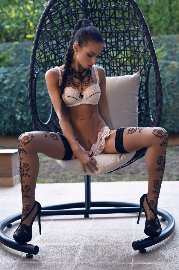 thigh high knit socks and lingerie on