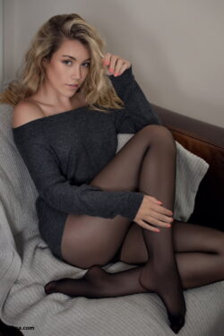 women's stockings and stocking feet in face